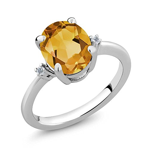Gem Stone King 2.52 Ct Oval Yellow Citrine & White Topaz Gemstone Birthstone Women 925 Sterling Silver Ring (Size 7)
