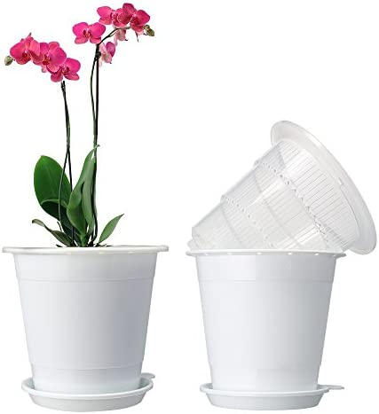 Mkono Plastic Planter Pot,Orchid Pots with Holes Mesh Net Orchid Planter 5.3 Inch White Flower Pots with Drainage Saucer Trays for Home Decoration 2 Inner 2 Outer Planters Included