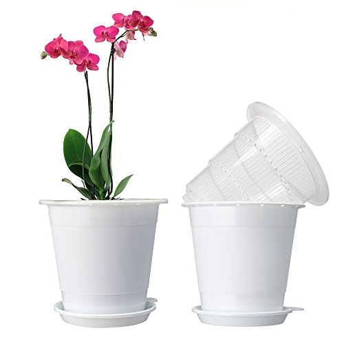 Plastic planter pot,Orchid Pots with Holes Mesh Net Orchid Planter 5.3 Inch White Flower Pots with Drainage Saucer Trays for Home Decoration 2 Inner & 2 Outer Planters Included