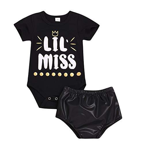 oldeagle Baby Girls Outfits Clothes, Newborn Infant LIL MISS Letter Print Romper Bodysuit+Artificial Leather Shorts 2PCs Outfits Set (Black, 12-18 Months)