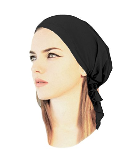 Black Pre-Tied Headscarf Soft Cotton Tichel Chemo Friendly in over 30 Different Colors! (Black - 029) (Cotton Headwrap Lightweight)