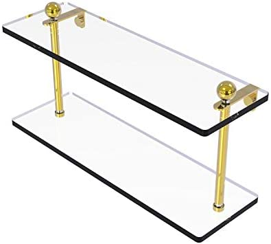 Allied Brass PR-2 16 16 Inch Two Tiered Glass Shelf, Polished Brass