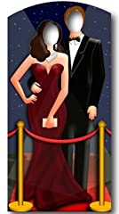 74 x 38 inches. Our cardboard cutout of Hollywood Couple Stand-In. All cardboard cutouts come folded and have an easel attached to the back to be self-standing. Items are printed and produced to order. Printing and processing takes up to 5 business p...