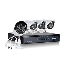 HQ-Cam HQ-96044-5GB 4 Channel 960H Analog H.264 DVR 700TVL Camera, 500 GB (Black/White)
