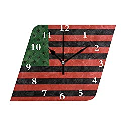 HangWang Wall Clock American Flag Silent Non Ticking Decorative Diamond Digital Clocks Indoor Outdoor Kitchen Bedroom Living Room
