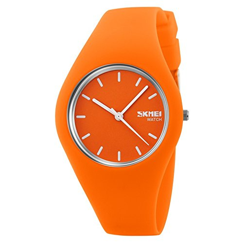 Skmei fashion silicone quartz ultra - thin simple and exquisite gift watche(12 styles) (Orange) - Orange Womens Watch