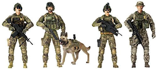Sunny Days Entertainment Elite Force Army Rangers Action Figure 5 Pack with 14 Points of Articulation & Bonus Figure
