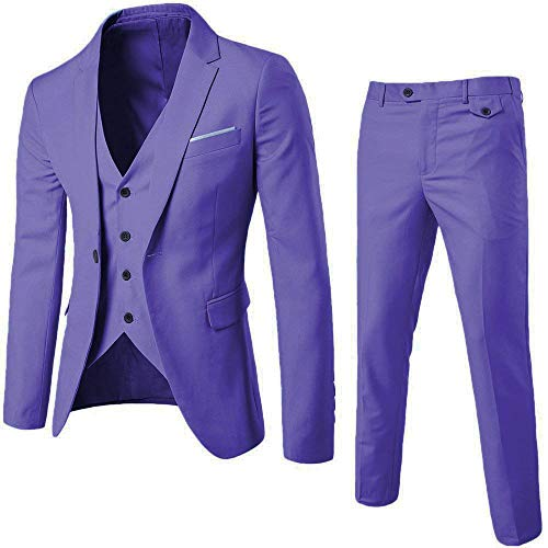(Mens 3-Piece Suit Notched Lapel One Button Slim Fit Formal Jacket Vest Pants Set (Violet,)