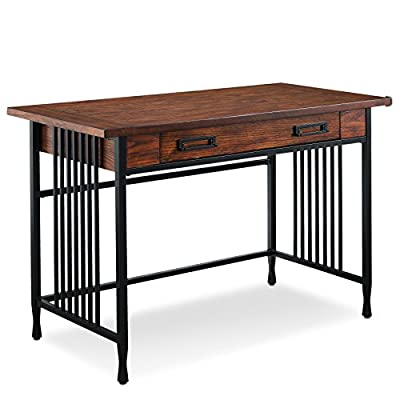 Leick Iron craft Computer/Writing Desk - Blackened metal Mission slats and legs with cinched metal toe design Hand applied burnished medium oak Finish Drawer with ball-bearing, full extension drawer guides has a drop front lid for laptop or keyboard storage - writing-desks, living-room-furniture, living-room - 41tnG61xu5L. SS400  -