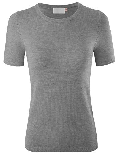 MAYSIX APPAREL Short Sleeve Crew Neck Knit Pullover Sweater for Women HeatherGray S