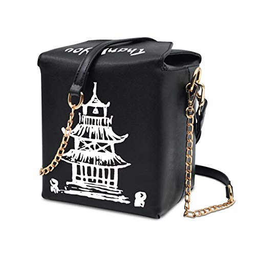 - Fashion Crossbody Shoulder Bag, i5 Chinese Takeout Box Purse with Comfortable Chain Strap (black-white)