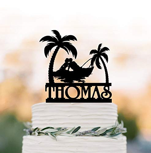Cheyan Outdoor Wedding Cake Topper Mountain With Fishing Boat Tree, Bride And Groom Silhouette Cake Topper Fishing Cake Topper Palm Beach - Beach Wedding Acrylic