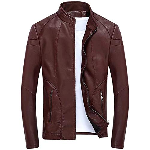 Giacca Giacca alla Giubbotto con A A in in Pureed Slim Lunga Invernale Giacca Fit Pelle Motociclista Coreana Manica Dunkelrot Uomo Giacca Colletto Autunno Y6Yn4qP