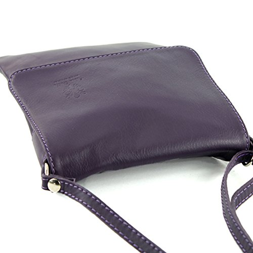 34 T ital modamoda small shoulder bag leather ladies de Dunkellila bag Messenger g4qZwvz