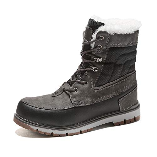 Winter Warm Plush Fur Snow Boots Men Ankle Boot Quality Casual Motorcycle Waterproof Boots,Gray,9.5