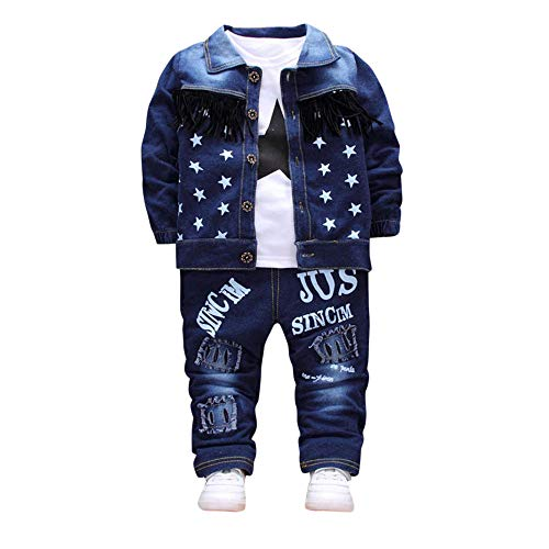 - Tronet Baby Girl Boy Winter Tassel Denim Jacket + Tops + Letter Holes Denim Pants Three-Piece Set(Age:1-3 Years Old)