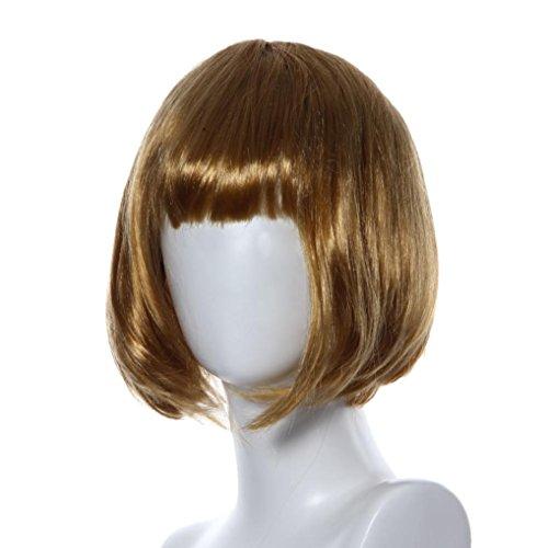 Creazy Masquerade Small Roll Bang Short Straight Hair Wig (Gold)