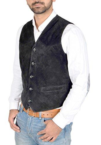 Herren Echtes Wildleder Traditionelle Stil Klassische Waistcoat Gilet Weste Don Schwarz