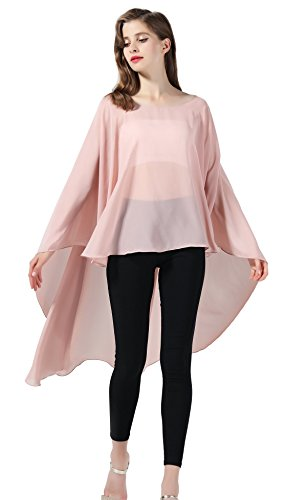 Chiffon Capelet Sheer Bridal Shawl For Women Materbity Cape Plus Size Poncho Wrap Dusty Rose