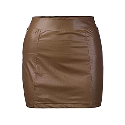 Yoyorule Bandge Leather High Waist Hip Short Mini Skirt