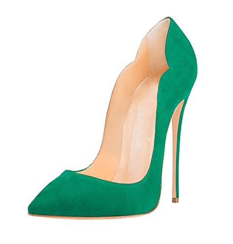 EDEFS Talons Talons Femme à Femme Escarpins À Bouts Chaussures Escarpins Vert Hauts Pointus qvrqIA