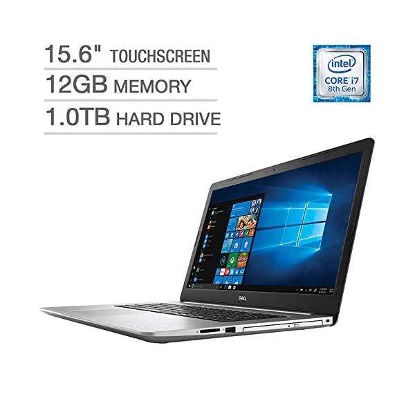 "2019 Dell Inspiron 15 5000 5570 Intel Core i7-8550U 12 GB DDR4 1TB HDD 15.6"" Full HD Touchscreen LED Silver Laptop 1"