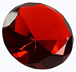 Red Diamond Shaped Glass Crystal Paperweight