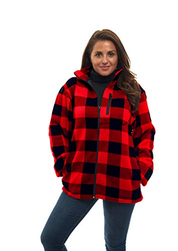 (Women's Zip Up Warm Knit Unique Sweater Fleece Jacket - Red Plaid - All Season Collection)