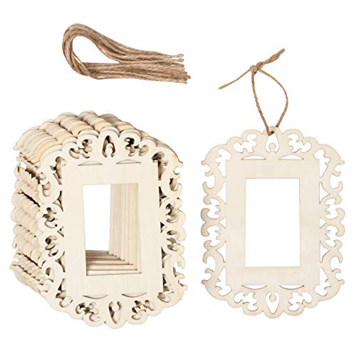 12-Pack Unfinished Wood Frame Cutout - 4.3 x 5.8-Inch Mini Wood Photo Frame with Jute Ropes, for DIY Craft, Home Decoration