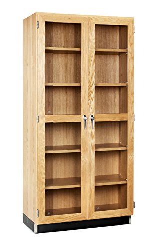 (Diversified Woodcrafts 358-3622 UV Finish Solid Oak Wood Wall Storage Case with 2 Framed Doors, 36