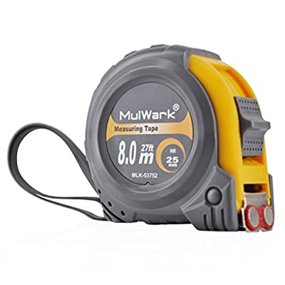 MulWark 27 Feet Retractable Tape Measure by Imperial & Metric Scales with Thick Blade, Magnetic Hook, Non-Slip Strap And Shock Absorbent Case - Professional for Contractor, Carpenter And Hobbyist