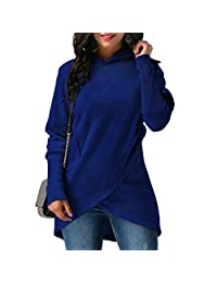 DOKER Women's Long Sleeve Wrap Irregular Hem With Pocket Hooded Pullover Sweater