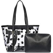 Vbiger 2 In 1 Clear Tote Bag Women Clear Purse Work Bag Waterproof Travel Bag Beach Handbag Gym Sports Bag