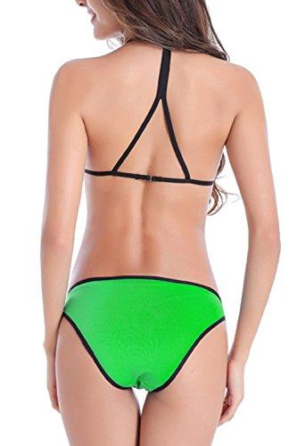 Set Green Halter Bikini Yacun Tankini donna EzxgqZp