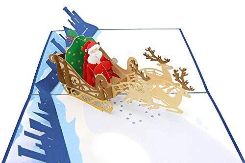 (PopLife Santa, Sleigh and Reindeer Christmas Pop Up Card, 3D Holiday Card, Merry Christmas Card)