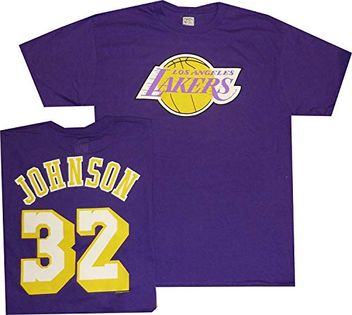 (Majestic Magic Johnson Los Angeles Lakers Purple Throwback Jersey Name and Number T-shirt Medium)