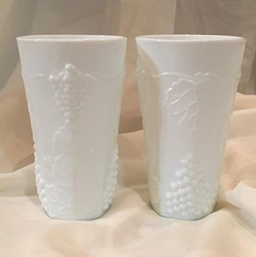 Set of Two Indiana Colony Harvest Grape Milk Glass Tumblers(6
