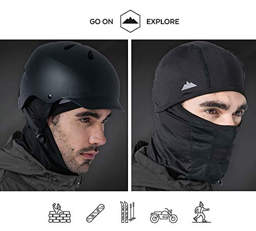 Tough Headwear Balaclava - Windproof Ski Mask - Cold Weather Face Mask for Skiing, Snowboarding, Motorcycling & Winter Sports. Ultimate Protection from The Elements (Black)