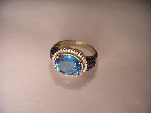 Gorgeous Estate 14K Yellow Gold Blue Topaz Diamond Sapphire Ring