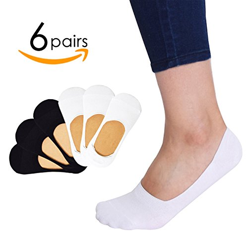 6 Pack Casual No Show Socks Non Slip Sport