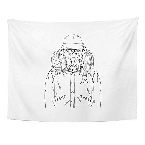 SPXUBZ Wall Tapestry Accessories English Setter Portrait Dogs Animal Anthropomorphic Beanie Hat Wall Hanging Decoration Soft Fabric Tapestry Perfect Print for House Rooms ()