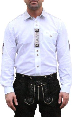 Trachtenhemd für Trachten Lederhosen mit Verzierung Trachtenmode wiesn weiß , Hemdgröße:XL