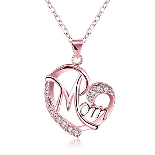 - Lavany Women's Necklace Pendant Vintage Necklaces Long Chain Plated Mom Love Crystal Pendant Jewelry Gifts for Women Girls (Rose Gold)