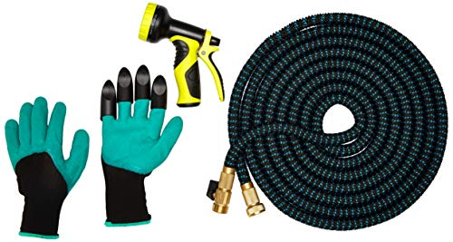 Expandable Garden Hose, 50ft Expanding Flexible Water Hose with 9 Pattern Spray Nozzle, Bag and Claw Gardening Gloves