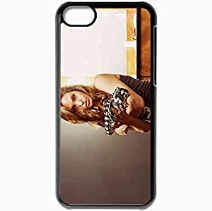 Personalized iPhone 5C Cell phone Case/Cover Skin Angelina jolie snake brunette makeup room Actress Black