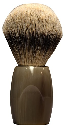 Dovo Silvertip Shaving Brush, Buffalo Horn Handle, Made in Germany by Dovo