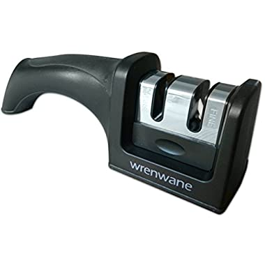 Wrenwane Kitchen Knife Sharpener - 2 Stage Sharpening, Black