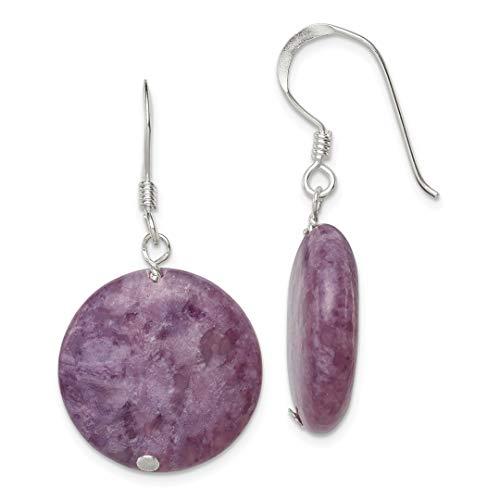 14k Solitaire Gold Mounting White (925 Sterling Silver Purple Lepidolite Drop Dangle Chandelier Earrings Fine Jewelry For Women Gift Set)