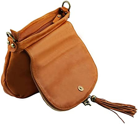 Tuscany Leather - TL Bag - Soft leather shoulder bag with tassel detail  Cognac - TL141223. Loading Images... Back. Double-tap to zoom 16148c378d68f