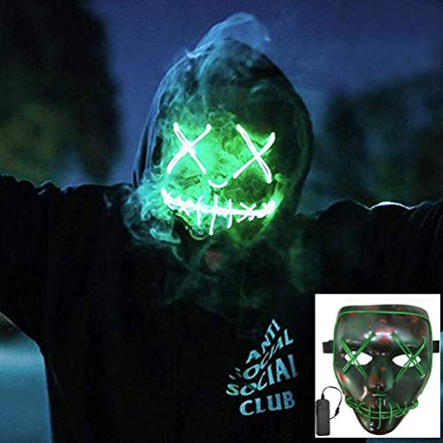 NIGHT-GRING Frightening Wire Halloween Cosplay LED Light up Mask for Festival Parties, Green